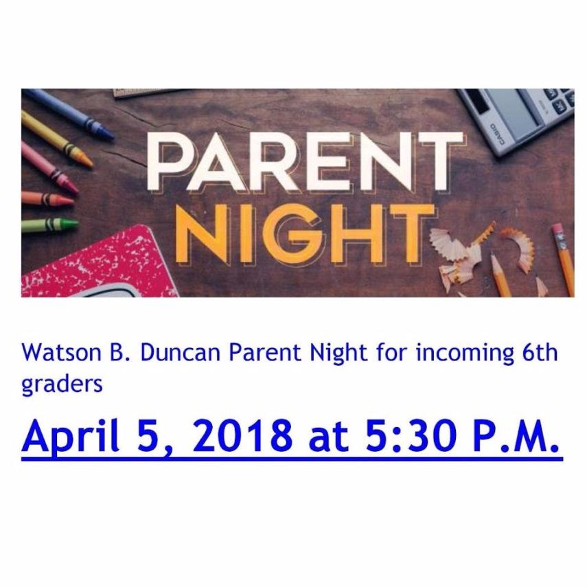 parent night 6h grade 2018
